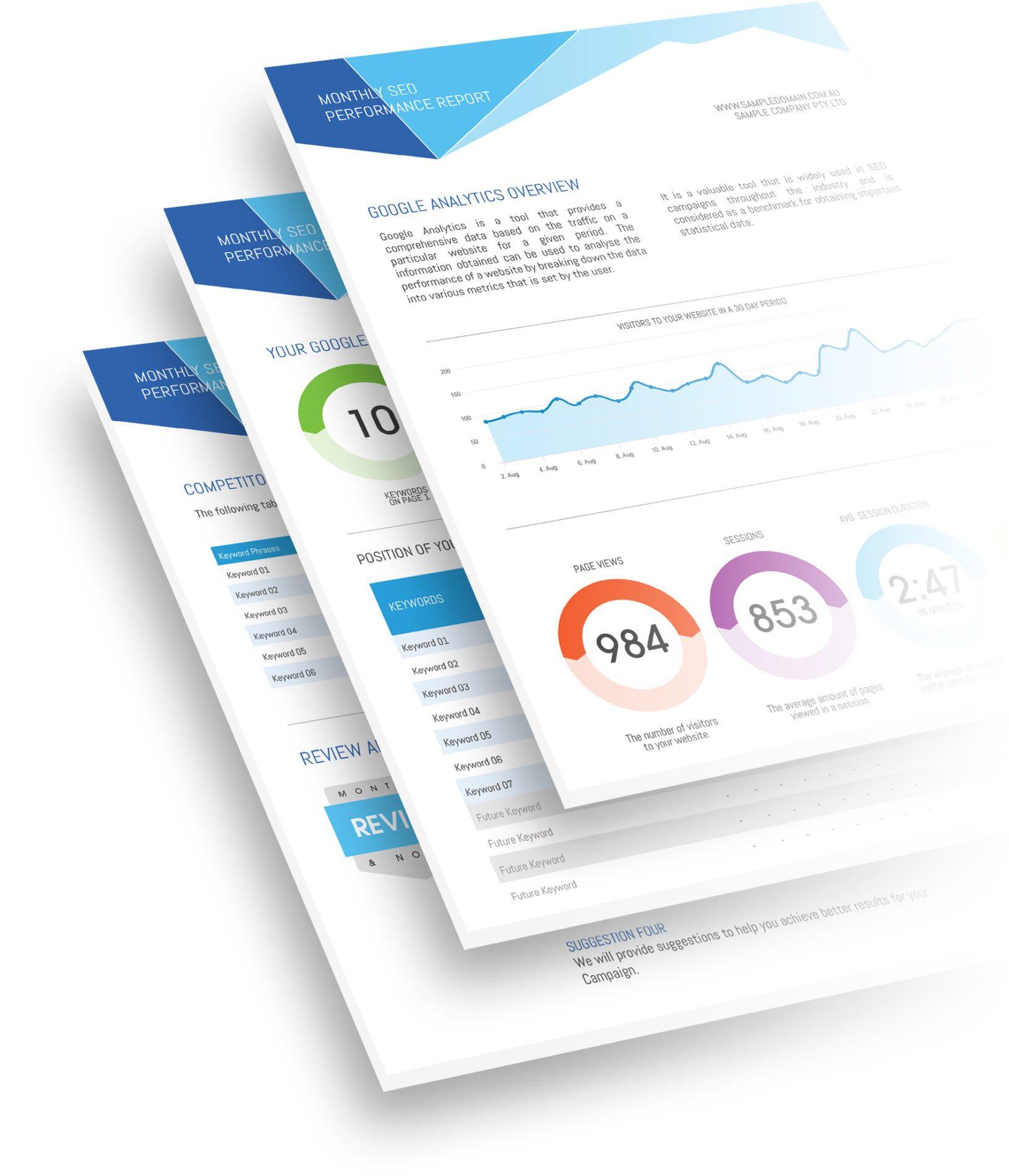 Sample SEO Reports - Cronulla Web Design